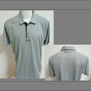 XL Silver Gray Oakley Men Polyester #41E Golf Polo